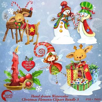 Christmas Clipart Watercolor, Christmas Reindeer, Christmas Elements, 3 AMB-1473
