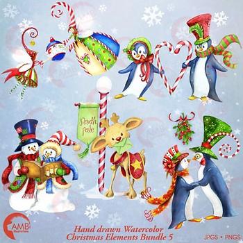 Christmas Clipart Watercolor, Christmas Snowmen, Christmas Elements, 5 AMB-1484