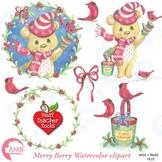 Christmas Clipart, Watercolor Clipart, Christmas Bear Clipart, AMB-1489