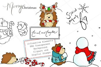 Christmas Clipart and Digital Stamp set - Hedgehog - Snowman - Tinsel and Taylor