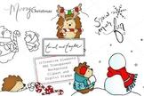 Christmas Clipart and Digital Stamp set - Hedgehog - Snowm