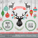Christmas Clipart, watercolor clipart christmas