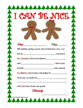 """""""I CAN BE NICE"""" Christmas Letter Writing Activity with Transition Words! GingerB"""