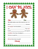 """I CAN BE NICE"" Christmas Letter Writing Activity with Transition Words! Primary"