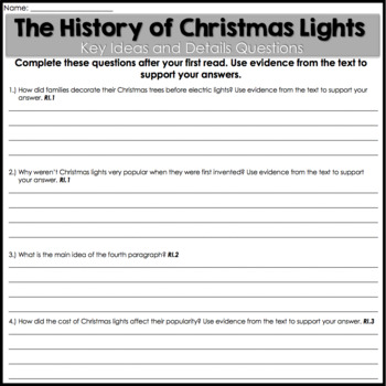 Reading Comprehension Passages and Questions - Christmas Activities