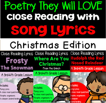 Christmas Close Reads Using Lyrics: Bundle of ALL 7 Close Reads!