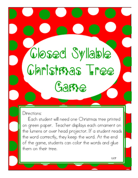 Christmas Closed Syllables