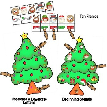 Christmas Clothespin Match-Ups: 10 Frames, Beginning Sounds, Uppercase-Lowercase