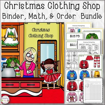 Christmas Clothing Shop Binder Match, Math, and Order Assembly Task