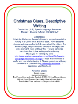 Christmas Clues, Descriptive Writing