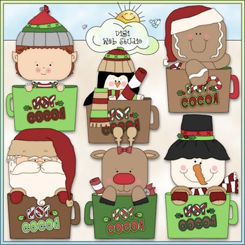 Christmas Cocoa Mugs Clip Art - Christmas Clip Art - CU Clip Art & B&W