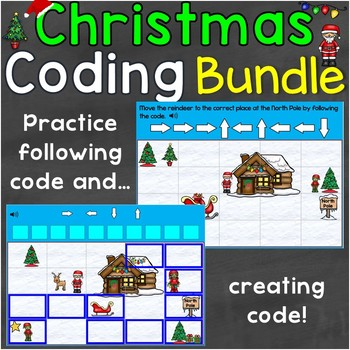 Christmas Coding Practice Creating & Following Code Digital Boom Cards Bundle