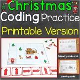 Christmas Coding Practice Unplugged Printable, Follow & Cr
