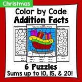 Christmas Color By Addition Facts: Sums up to 10, 15, & 20