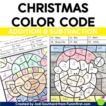 Christmas Color By Code - Addition & Subtraction