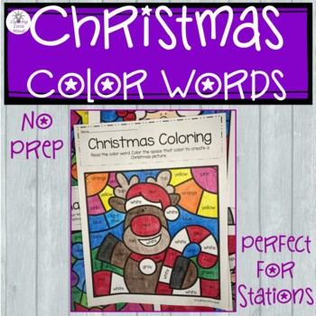 Christmas Coloring With Color Words