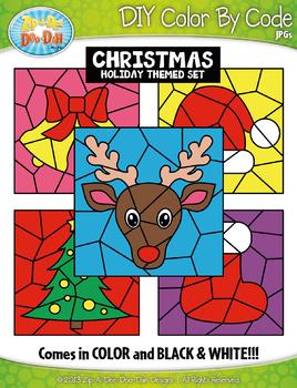 Christmas Color By Code Clipart {Zip-A-Dee-Doo-Dah Designs}