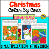 Christmas Color By Code - Differentiated - 3 Levels Multiplication, 1 Division