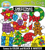 Christmas Color By Code Shapes Clipart {Zip-A-Dee-Doo-Dah Designs}