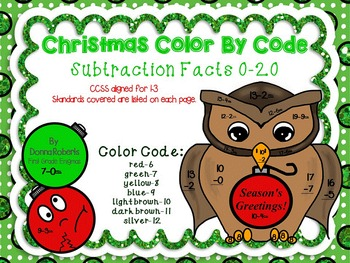 Christmas Color By Code Subtraction Differences 0-20 CCSS aligned