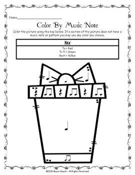 Christmas Color By Music Note Rhythm Coloring - Quarter Rest