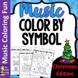 Christmas Color By Music Symbol set of 8 Color Sheets for Music Class