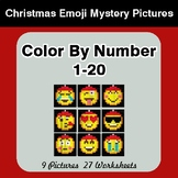 Christmas: Color By Number 1-20 | Christmas Emoji Mystery