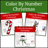 Kindergarten Math Worksheets- Christmas Color By Number