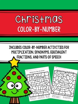 Christmas Color-By-Number Activities with Math and Reading