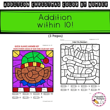 Christmas Color By Number Addition by PrintablePrompts | TpT