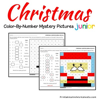 Mystery Pictures Addition, Christmas Addition Color-By-Number (K-2)