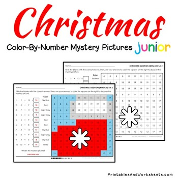 Christmas Math Addition Worksheets (Facts, Within 20 and 2-digits)