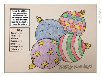 Christmas Color By Number (Addition and Subtraction of Large Numbers)