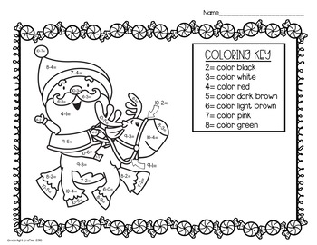 Christmas Color By Number BUNDLE with Addition and Subtraction