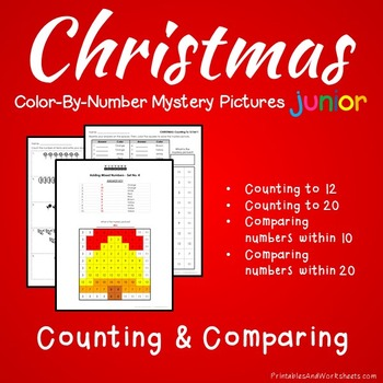 Christmas Counting Worksheets, Comparing, Greater Than Less Coloring Sheets