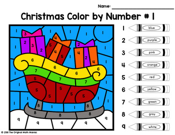 Christmas Color By Number: Numbers up to 20