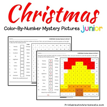 Christmas Math Place Value Worksheets Color-By-Number Code