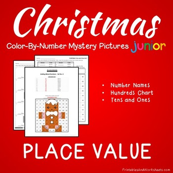 Christmas Place Value Coloring Sheet, Standard, Word Form, Counting Tens, Ones