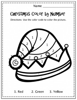 Christmas Color By Number Set - 6 different Activity Sheets