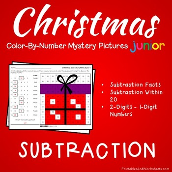 Mystery Pictures Subtraction, Christmas Subtraction Color-By-Number (K-2)