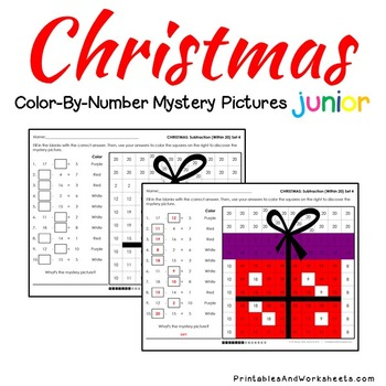 Christmas Math Subtraction Worksheets, Mystery Pictures Coloring Sheets