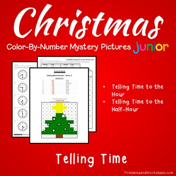 Christmas Telling Time Coloring Worksheets, Mystery Picture Math Activity
