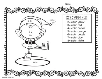 Christmas Color By Number with Subtraction