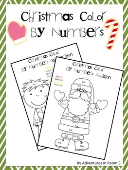 Christmas Color By Numbers (Addition and... by Adventures in Room ...
