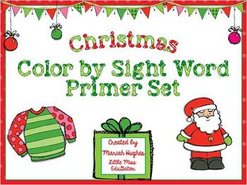 Christmas Color By Sight Word Activities - Primer Words