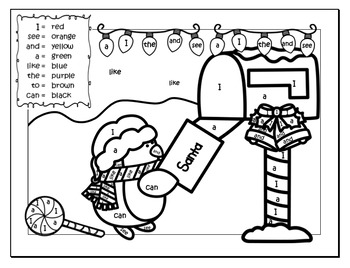 Christmas Color By Sight Words Work Sheets