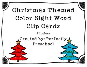 Christmas Color Sight Word Clip Cards