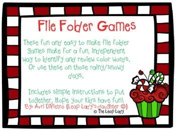 Christmas Color Words- File Folder Game