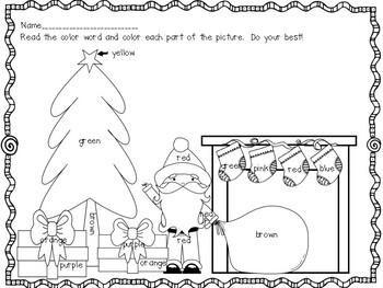 Christmas Color Word Worksheet