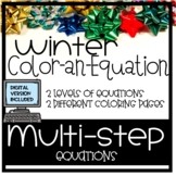 Winter Christmas Color-an-Equation, multi-step equations *